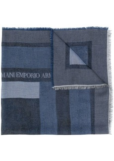Armani raw edge logo scarf