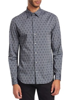Armani Regular-Fit Geometric-Print Button-Down Shirt