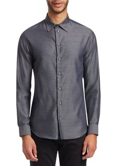 Armani Melange Twill Button-Down Shirt