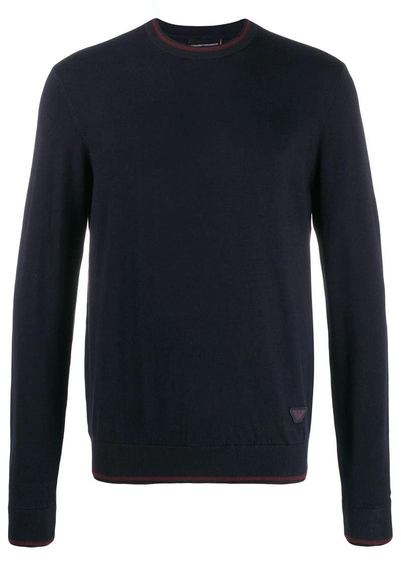 Armani relaxed-fit two-tone jumper