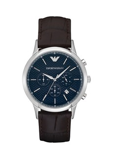 Armani Renato Stainless Steel & Croc-Embossed Leather-Strap Chronograph Watch