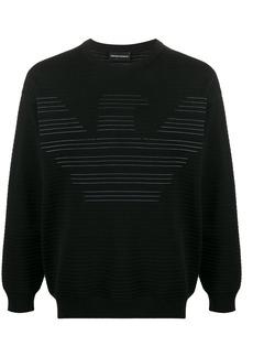 Armani ribbed logo print sweatshirt