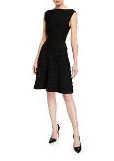 Armani Ribbon Ponte Knit Sleeveless Dress