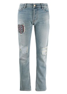 Armani ripped patch jeans