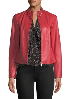 Armani Rosso Zip-Front Leather Jacket