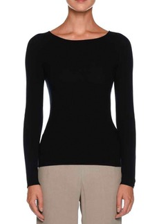 Armani Round-Neck Long-Sleeve Knit Top