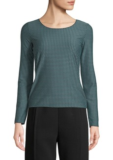 Armani Round-Neck Long-Sleeve Lattice-Jacquard Knit Top