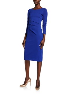 Armani Round-Neck Ruched Jersey Dress  Cobalt