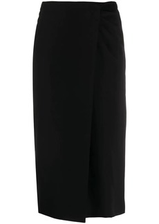 Armani ruched detail overlap skirt