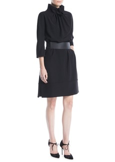 Armani Ruched High-Collar Easy Belted Tech Cady Dress