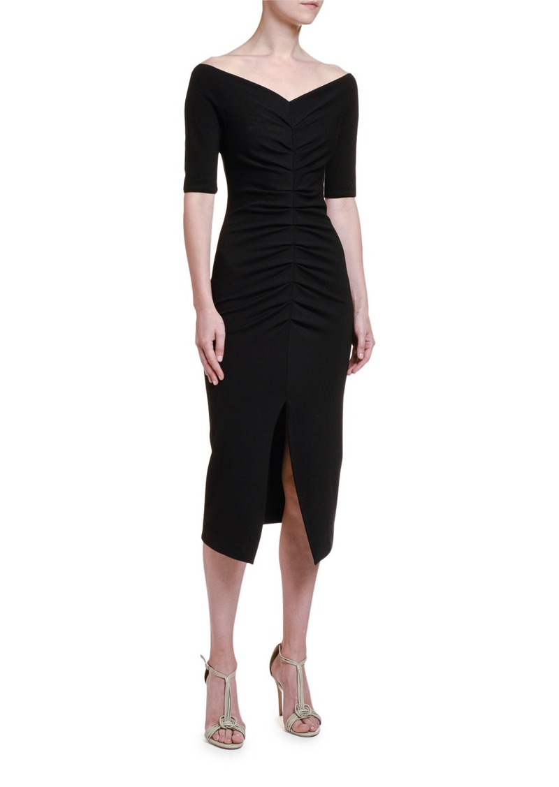 Armani Ruched Jersey 1/2-Sleeve Dress