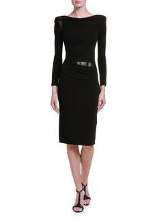 Armani Ruched Jersey Leather-Waist Dress
