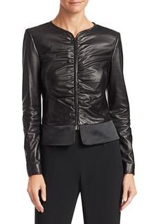 Armani Ruched Leather Jacket