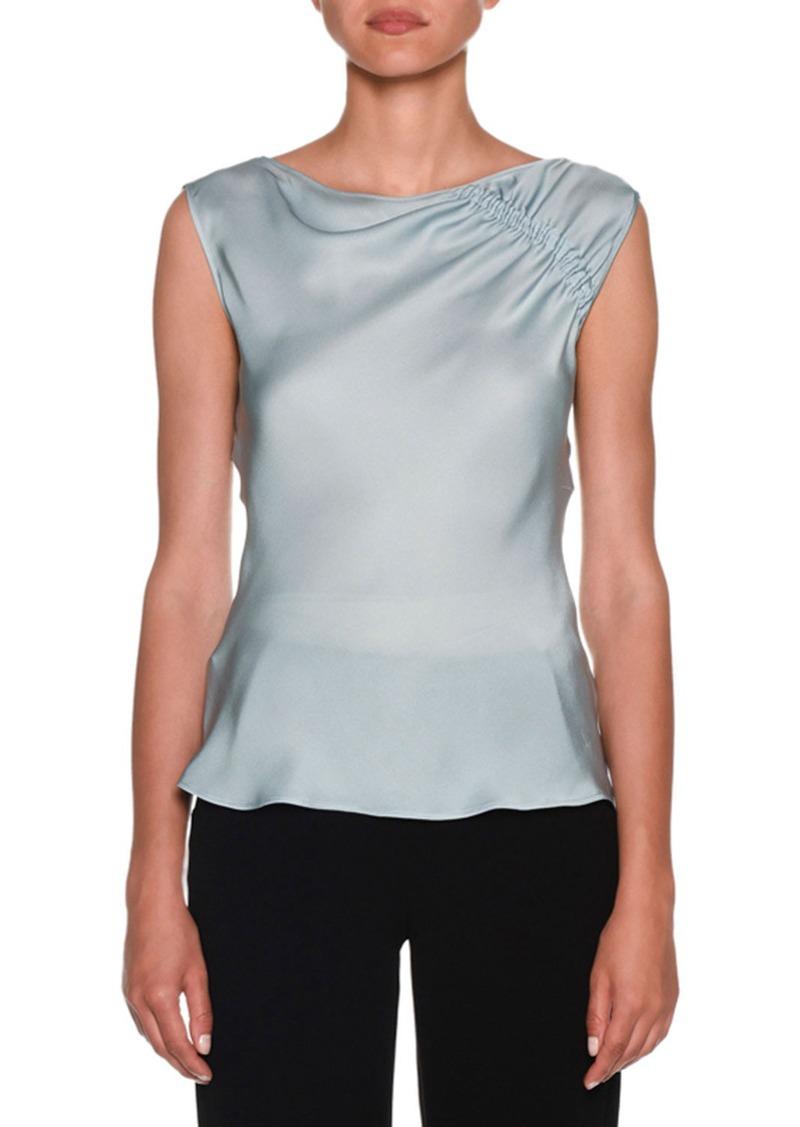 Armani Ruched-Shoulder Sleeveless Silk Blouse  Aquamarine