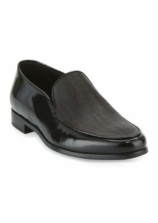 Armani Saffiano Leather Venetian Loafer  Black