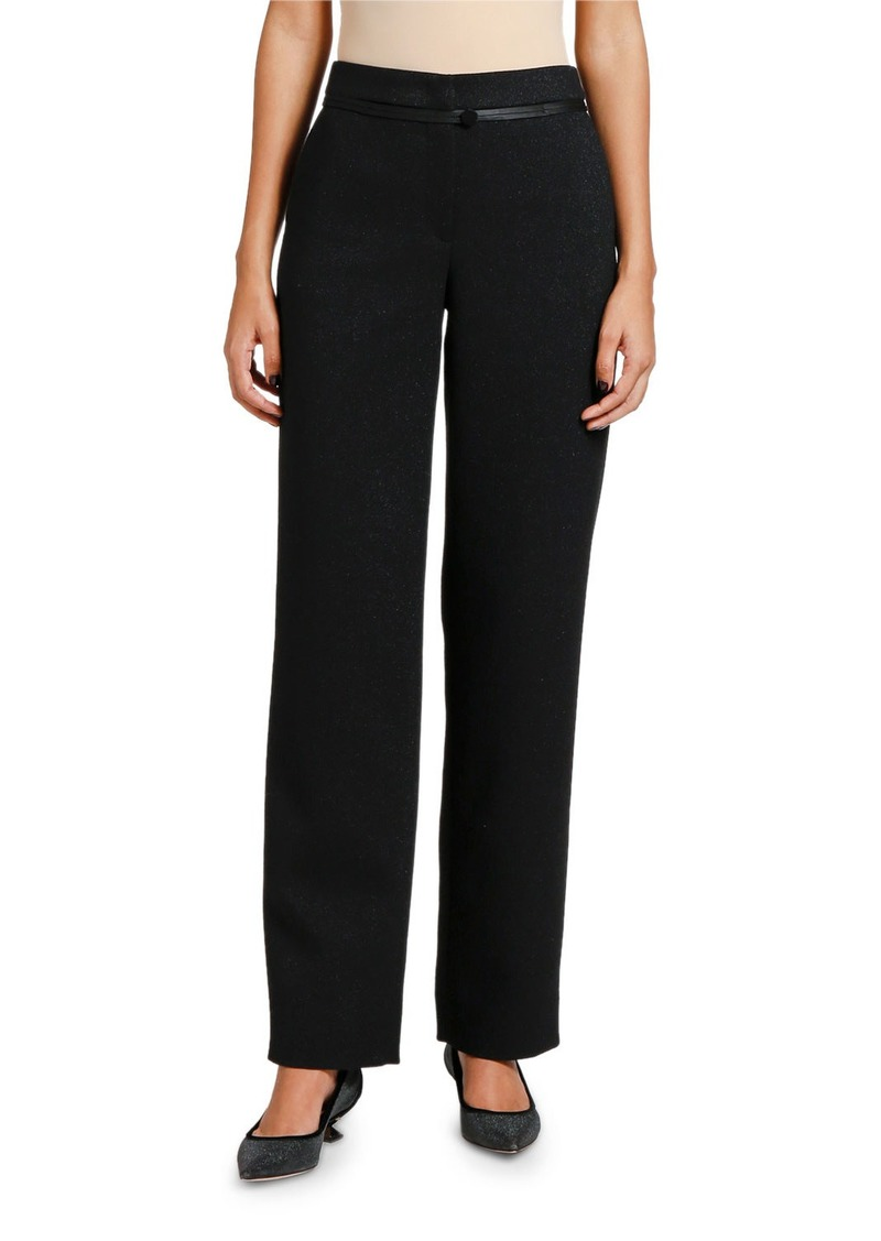 Armani Satin-Piped Shimmer Classic Pants