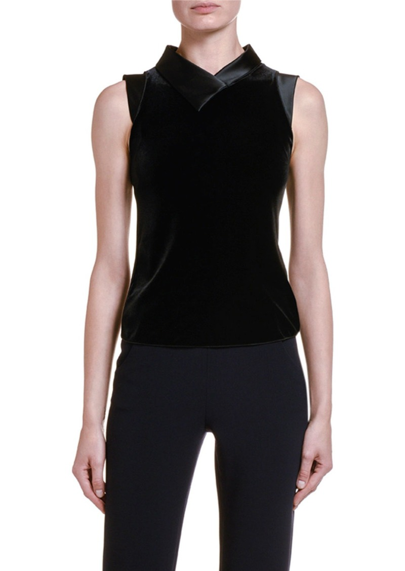 Armani Satin-Trim Velvet Tank Top