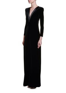 Armani Satin-Trim Velvet V-Neck Gown