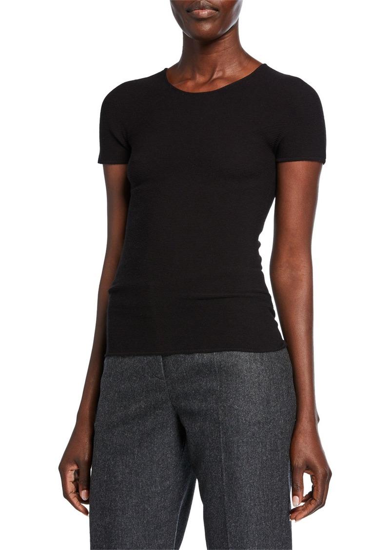 Armani Scoop-Neck Short-Sleeve Tee  Black