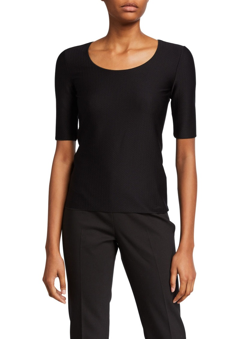 Armani Scoop-Neck Wave-Textured Shell