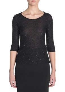 Armani Sequin Elbow-Length Sleeve Sweater
