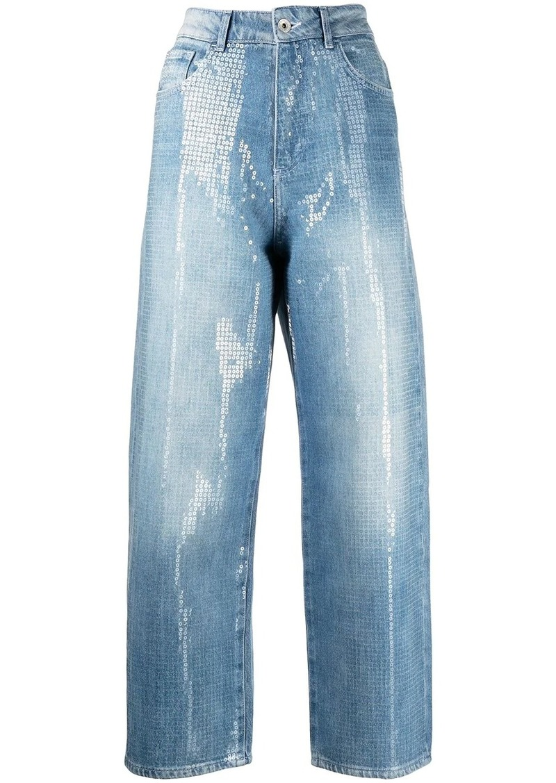 Armani sequin-embellished cropped jeans