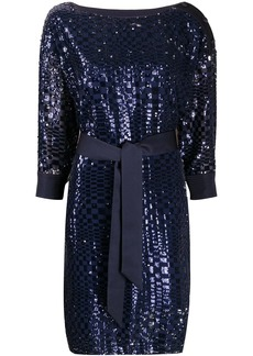 Armani sequin embroidered tie waist dress