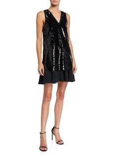 Armani Sequin Sleeveless Tunic Dress with Chiffon Skirt