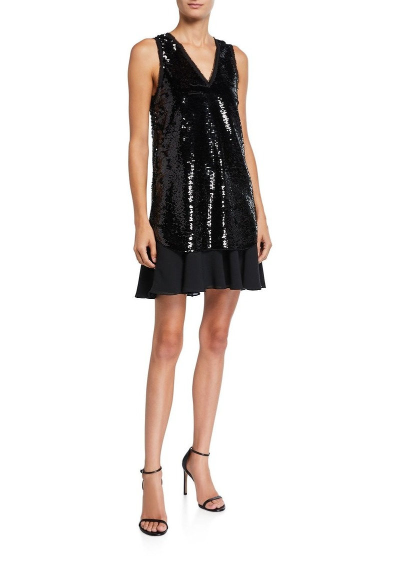 Armani Sequin Sleeveless Tunic Dress with Chiffon Skirt