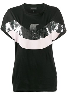 Armani sequinned eagle T-shirt