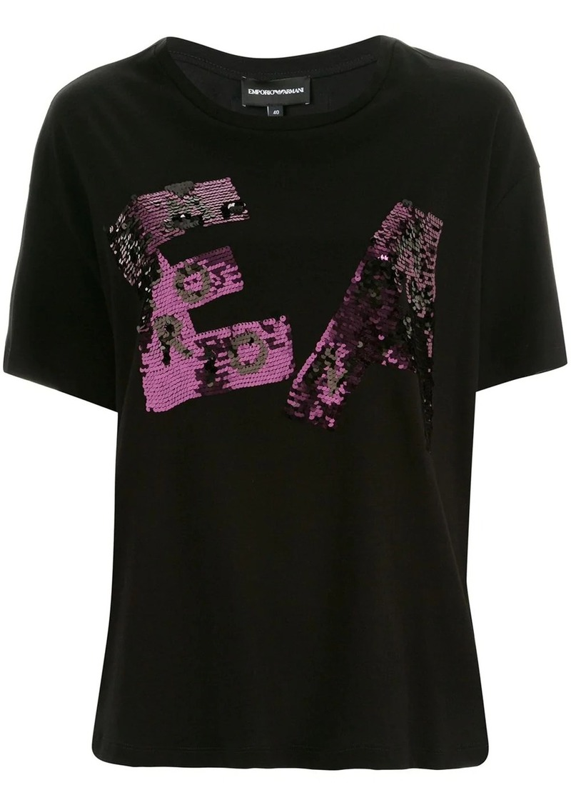 Armani sequinned logo boxy T-shirt