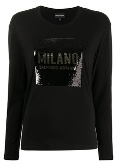 Armani sequinned logo top