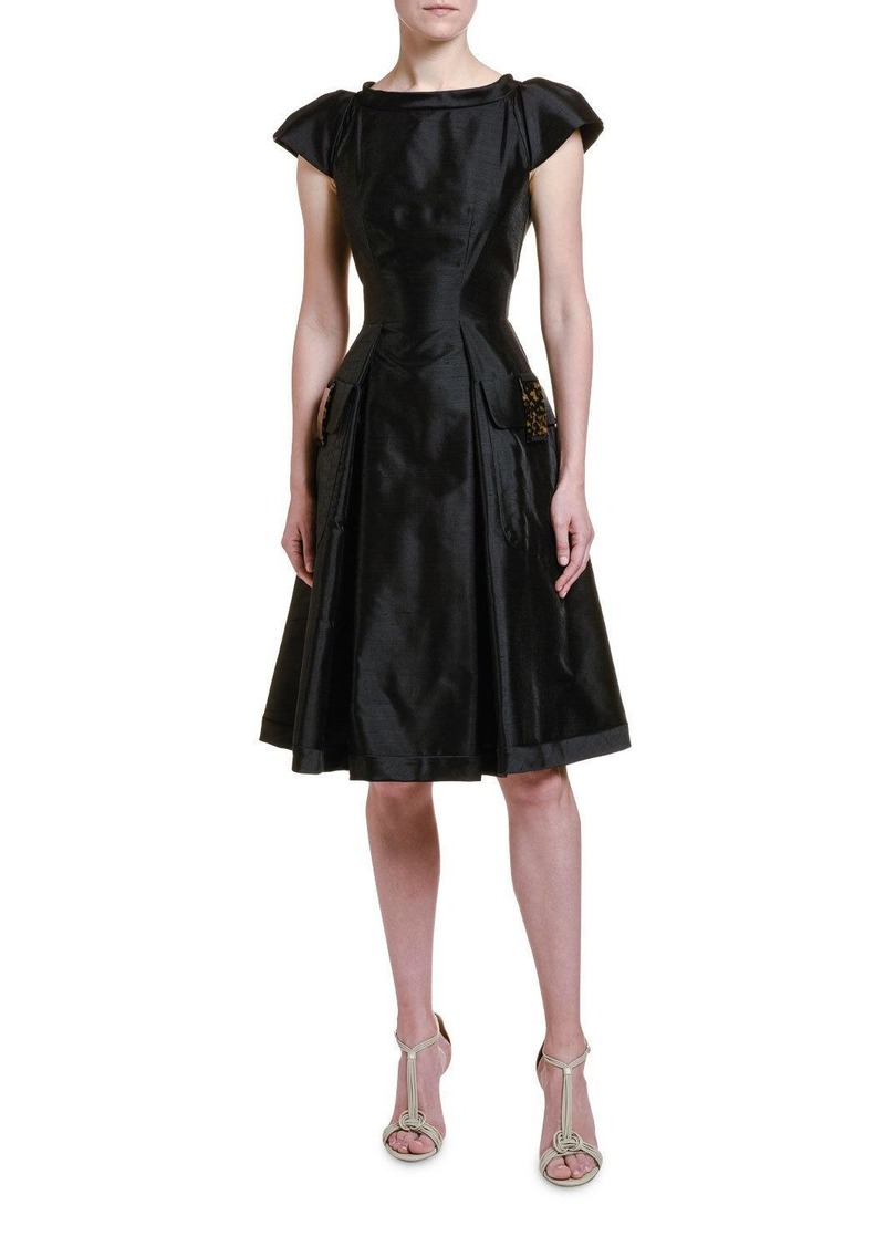 Armani Shantung Lady Dress with Tortoise Shell Trim