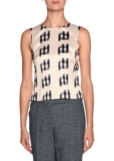 Armani Shantung Sleeveless Tie-Back Blouse  White/Black