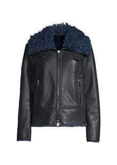 Armani Shearling-Trim Leather Jacket