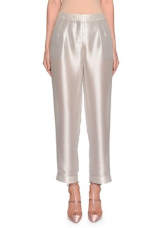 Armani Shimmer Silk Pleated Pants
