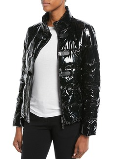 Armani Shiny Quilted Puffer Jacket w/ Hook Closure