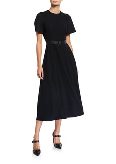 Armani Short-Sleeve Belted A-Line Dress