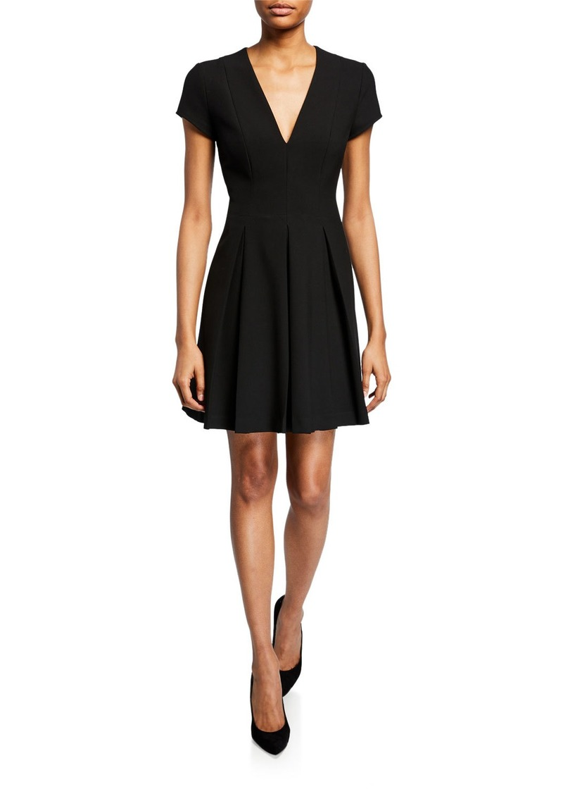 Armani Short-Sleeve Cady Pleated-Skirt Dress
