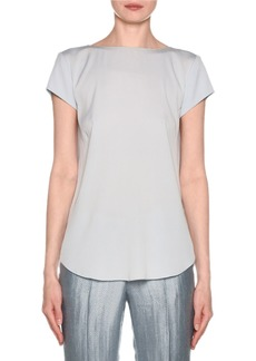 Armani Short-Sleeve Crisscross Back Silk Blouse