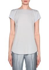 Armani Short-Sleeve Crisscross Back Silk Blouse