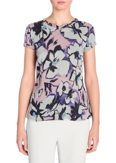 Armani Short-Sleeve Floral Chiffon T-Shirt