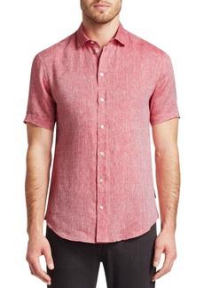 Armani Short Sleeve Linen Button-Down Shirt
