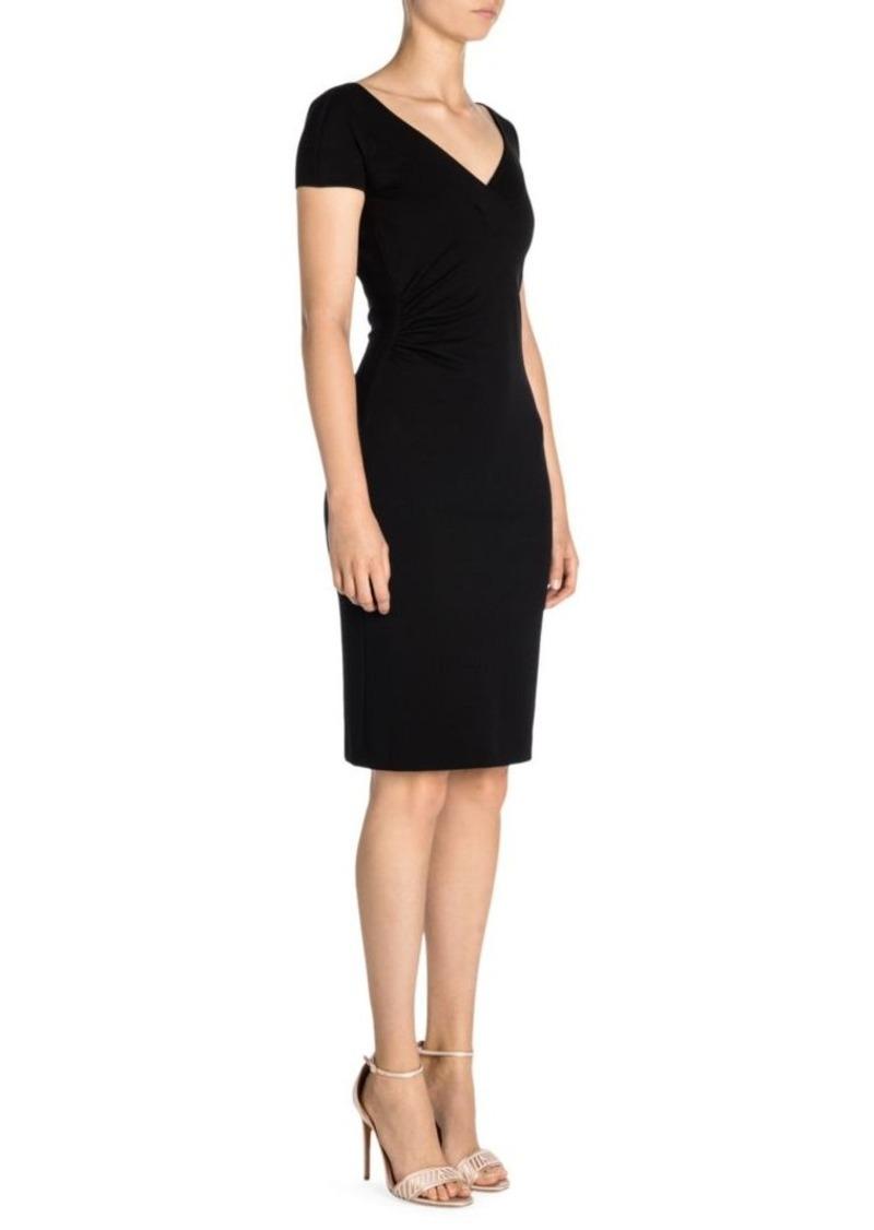 Armani Short-Sleeve Punto Milana V-Neck Dress