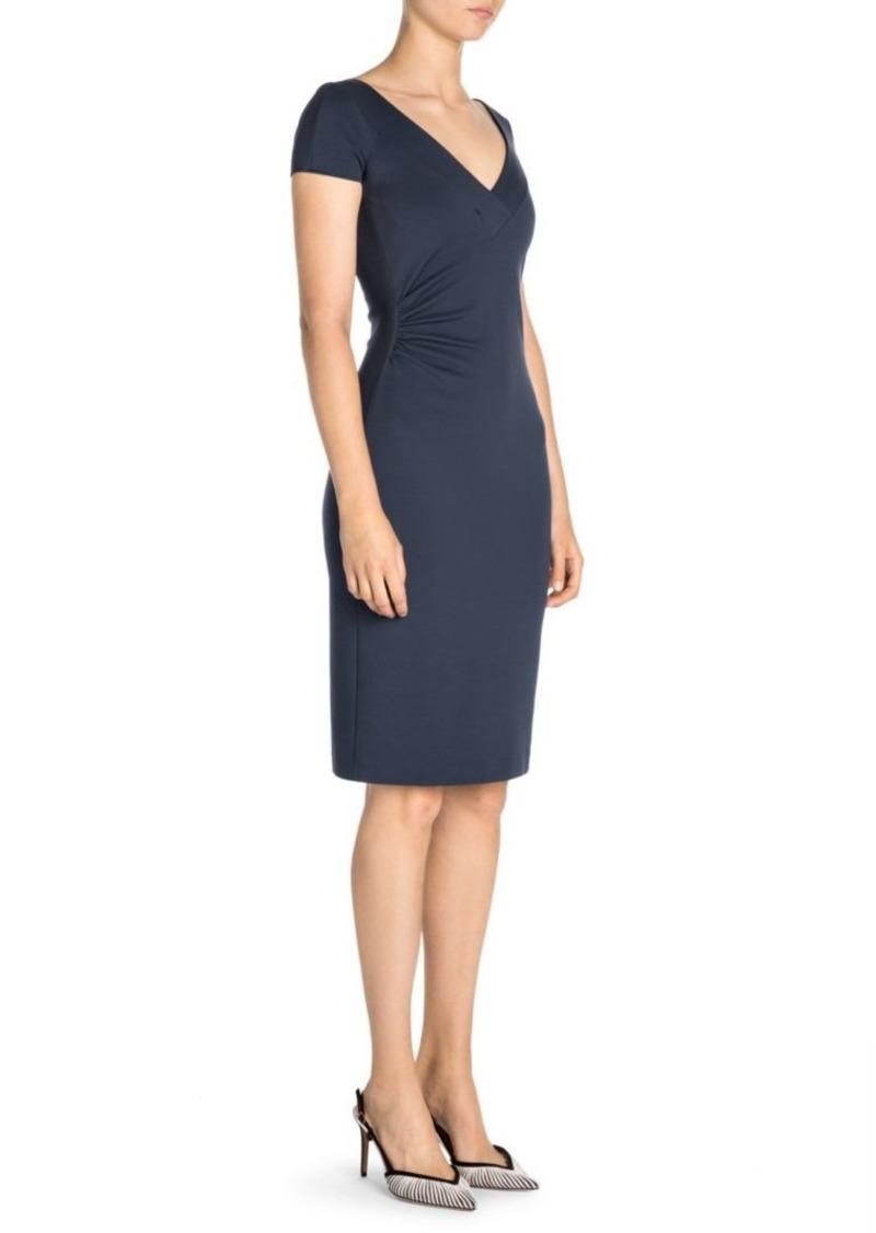 Armani Short-Sleeve Punto Milana V-Neck Sheath Dress