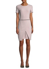 Armani Short-Sleeve Round-Neck Faux-Wrap Dress w/ Studded Trim