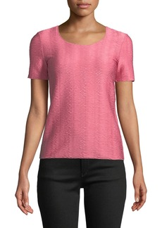 Armani Short-Sleeve Round-Neck Wave-Jacquard Knit Shell