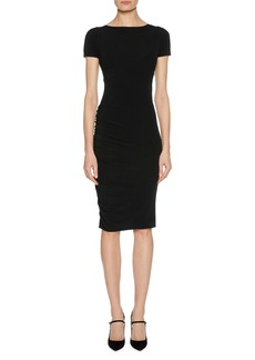 Armani Short-Sleeve Ruched Fitted Jersey Dress