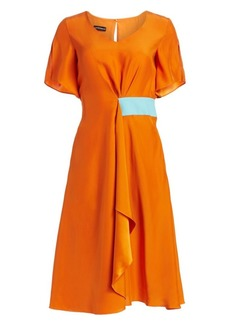 Armani Short Sleeve Silk Satin Dress