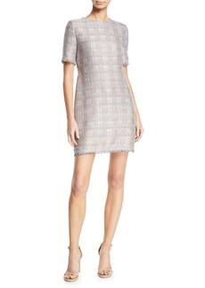Armani Short-Sleeve Tweed Fringe-Trim Dress